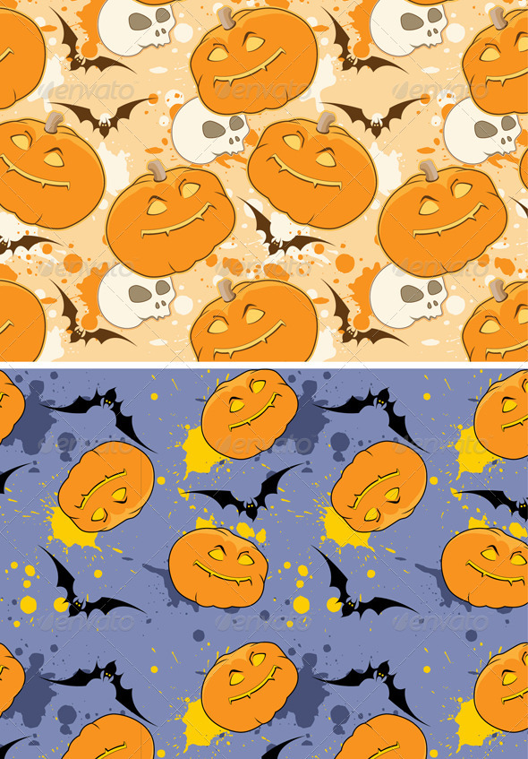 GraphicRiver Yellow and Violet Halloween patterns 3295531