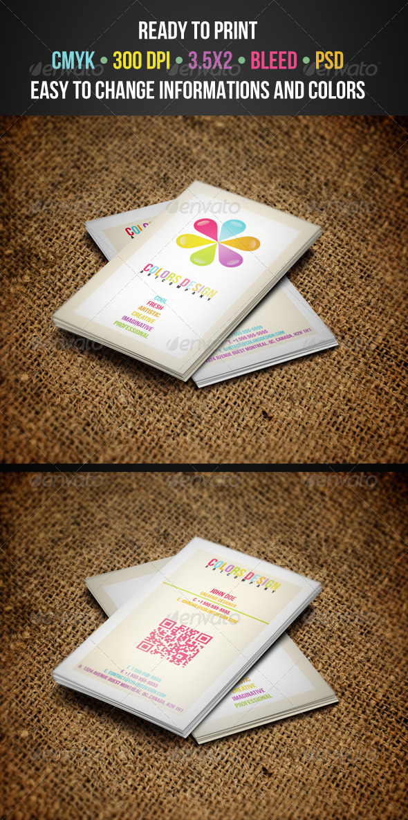 GraphicRiver Colorful Business Cards 3296001