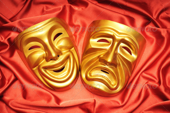 Masks with the theatre concept - Stock Photo - Images
