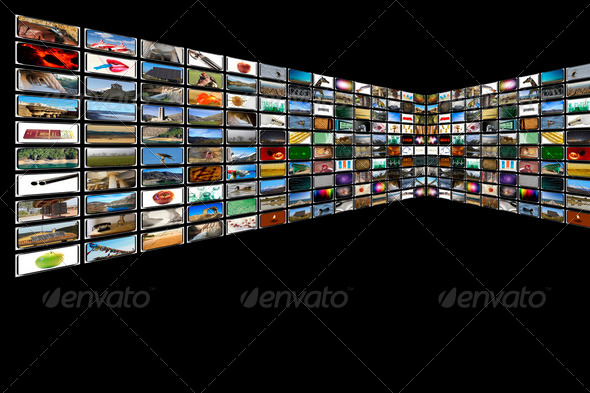 Media Room in black - Stock Photo - Images