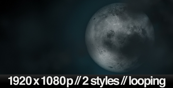 Full Moon Under Cloudy Sky 2 Styles Looping