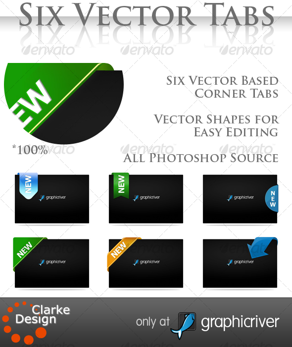 Six Vector Corner Tabs - GraphicRiver Item for Sale