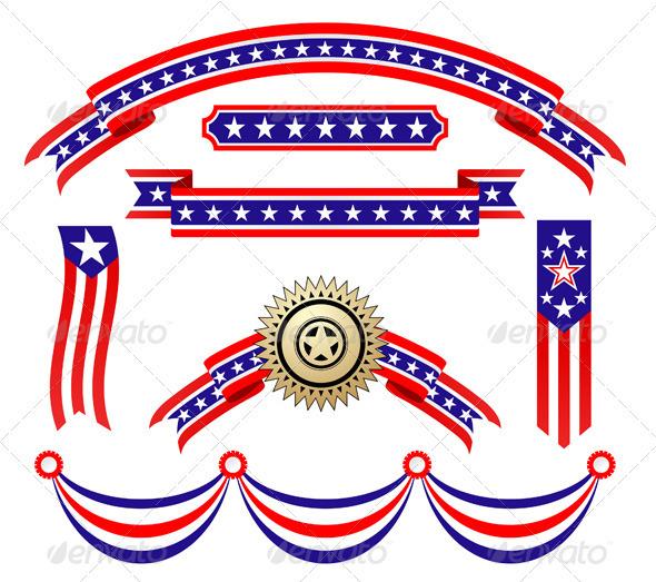 GraphicRiver American Patriotic Ribbons Set 3297333