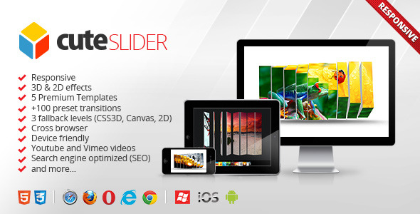 Cute Slider - 3D & 2D HTML5 Image Slider - CodeCanyon Item for Sale