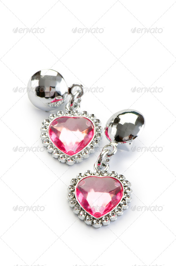 Silver earrings isolated on the white background - Stock Photo - Images