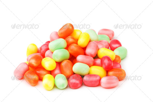 Various jelly beans isolated on the white background - Stock Photo - Images