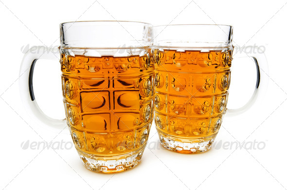 Beer glasses isolated on the white background - Stock Photo - Images