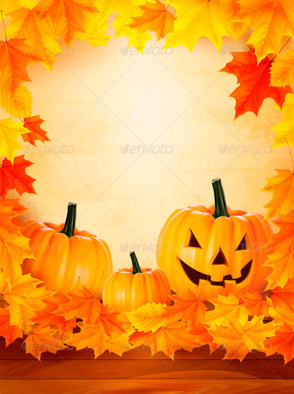 GraphicRiver Pumpkin Background with Leaves Halloween Backgroun 3297826