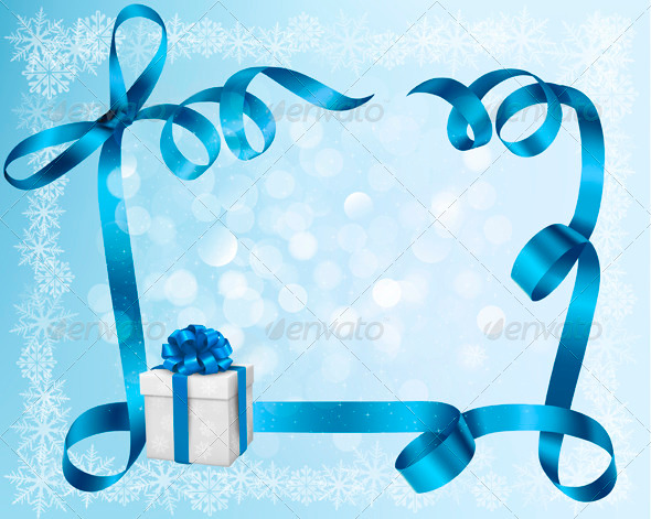 GraphicRiver Holiday Background with Blue gift Bow with Gift Box 3297828