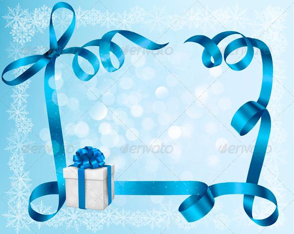 Blue Christmas Bow Transparent Background Blue Christmas Present Bow