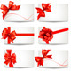 Set of Gift Card Notes with Red Bows and Ribbons - GraphicRiver Item for Sale