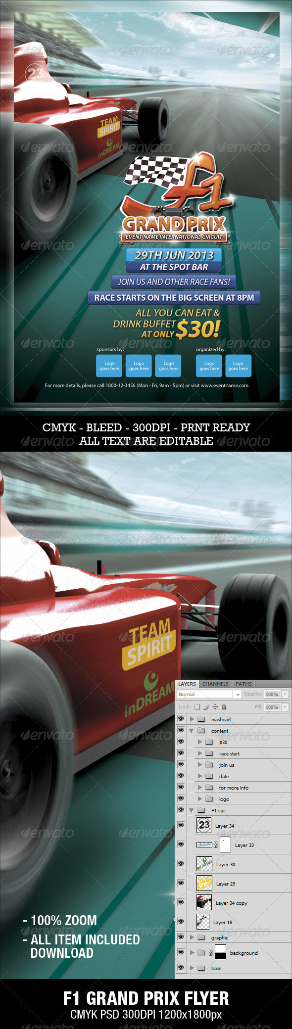 GraphicRiver F1 Grand Prix Flyer 3286111