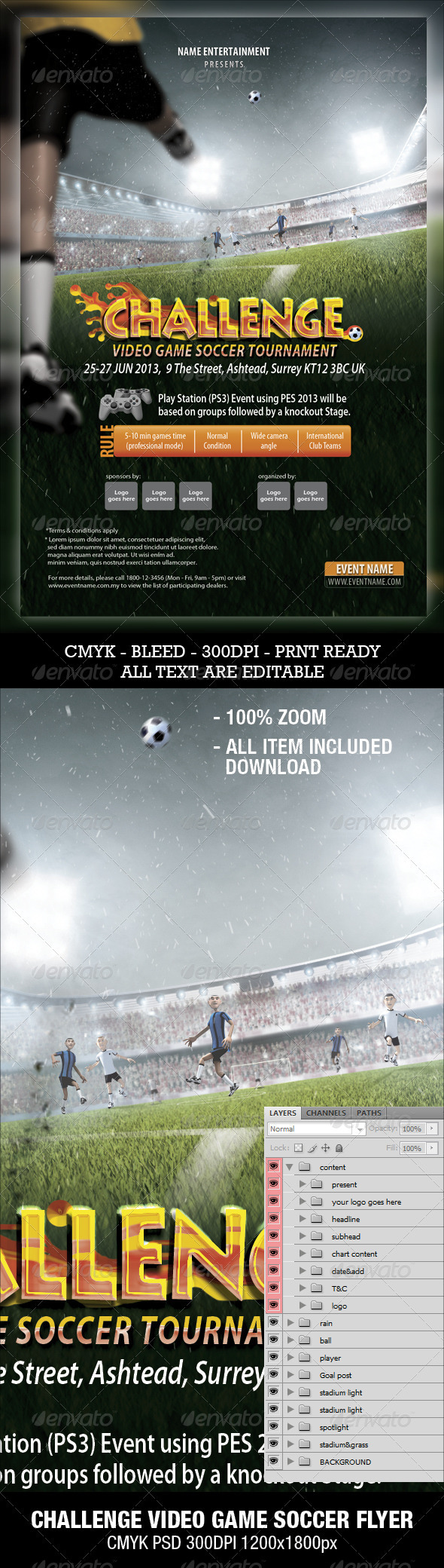 GraphicRiver Soccer Video Game Flyer 3289145