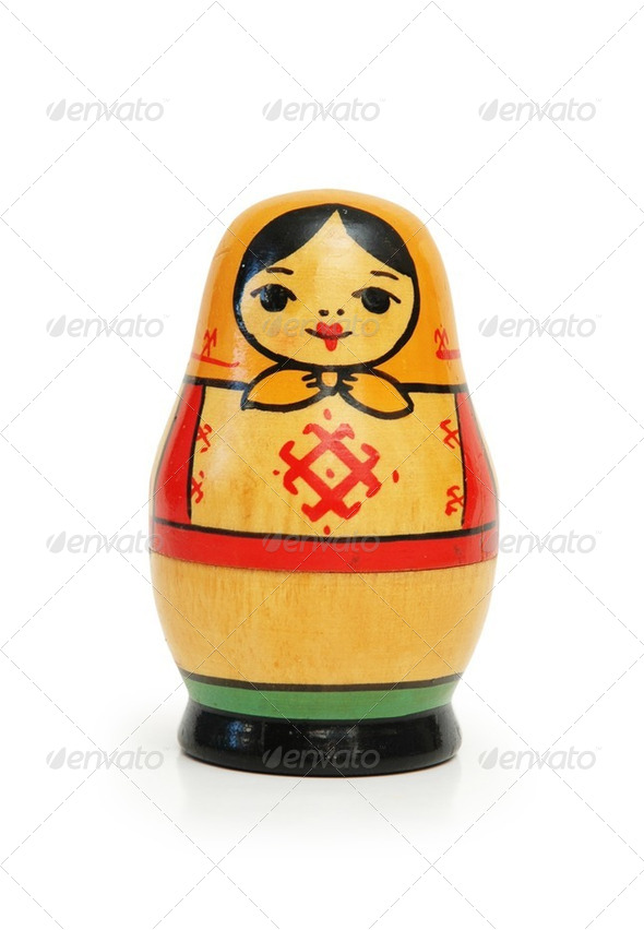 "Russian doll ""matreshka"" isolated on white background - Stock Photo - Images"
