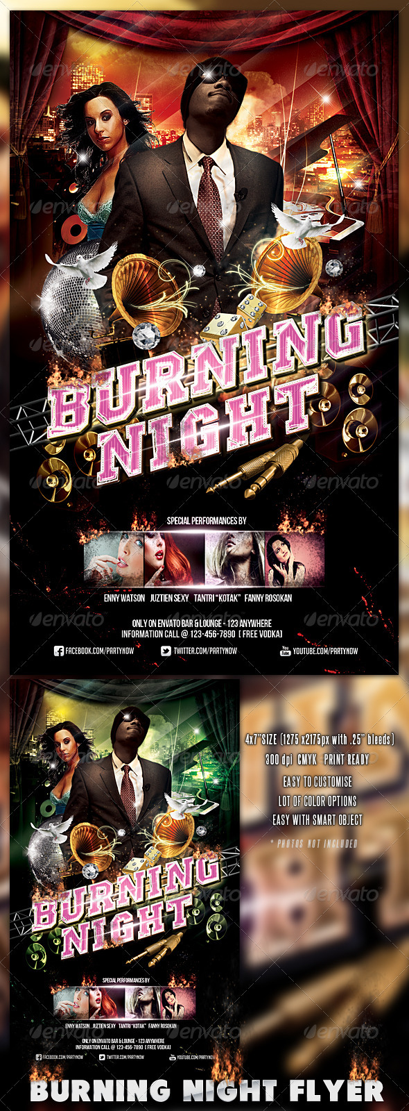 GraphicRiver Burning Night Flyer 3280315
