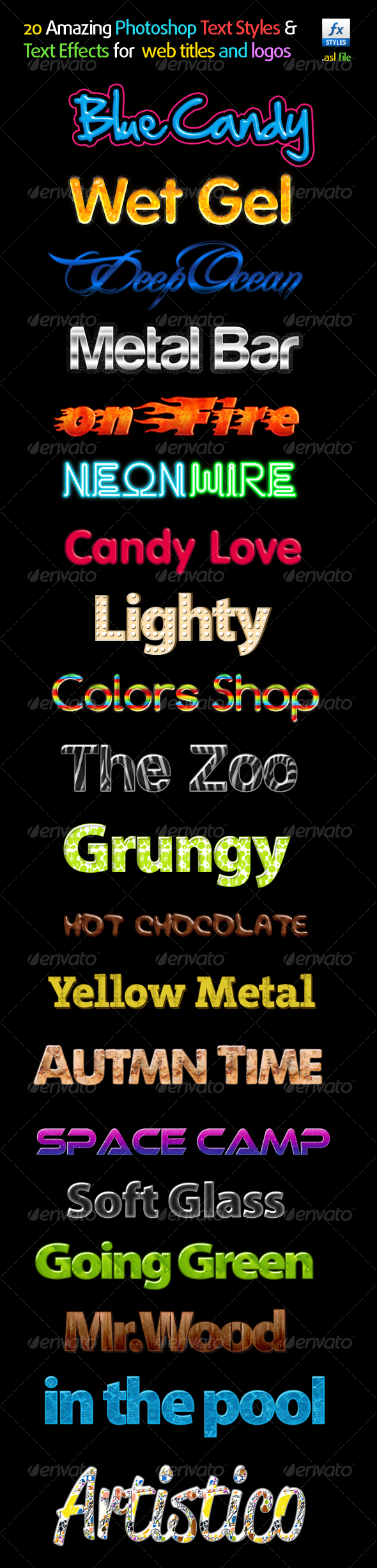 20 Amazing Photoshop Text Styles &Text Effects - Text Effects Styles