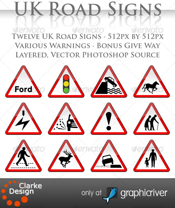 GraphicRiver UK Road Signs Warnings 116577