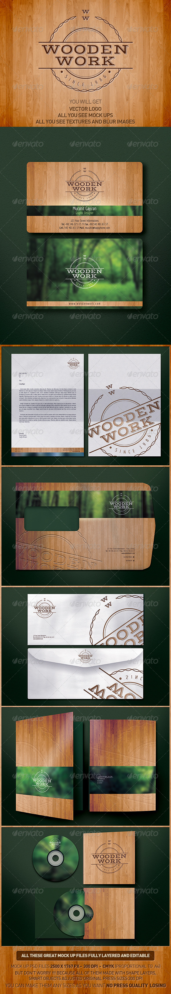 Wooden Corporate Identity v13 - Stationery Print Templates