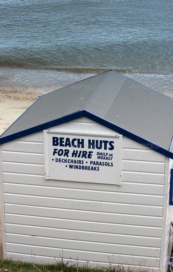 Beach huts for hire - Stock Photo - Images