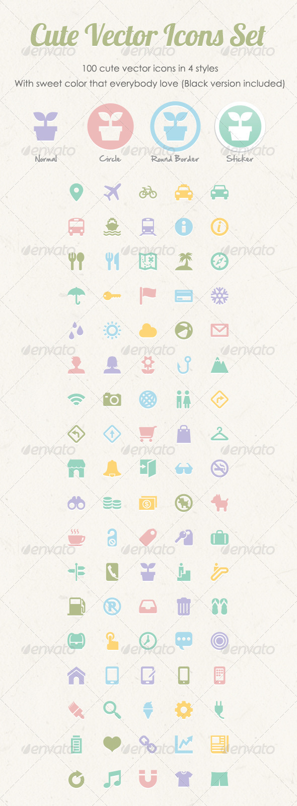 GraphicRiver Cute Vector Icons Set 3302952