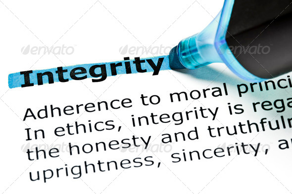 Integrity highlighted in blue - Stock Photo - Images