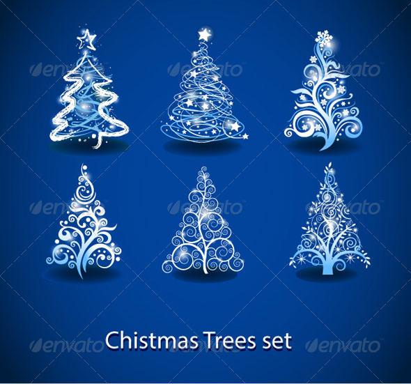 GraphicRiver Vector Christmas tree set 3303278