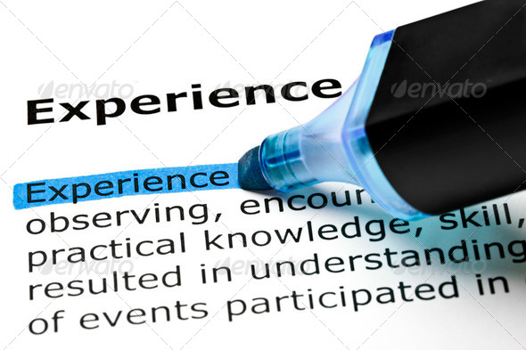 Experience highlighted in blue - Stock Photo - Images