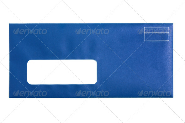 Blue Window Envelope - Stock Photo - Images