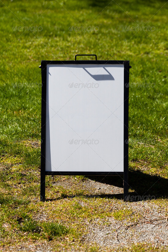 White sandwich board sign - Stock Photo - Images