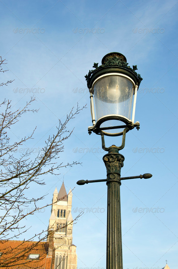 historical street lamp in Brugge - Stock Photo - Images