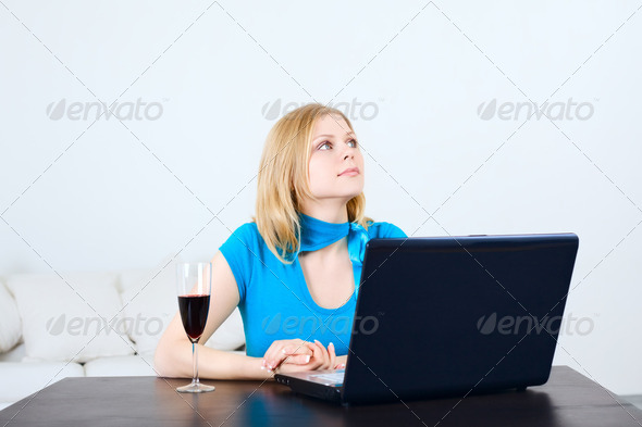 Woman with Laptop - Stock Photo - Images