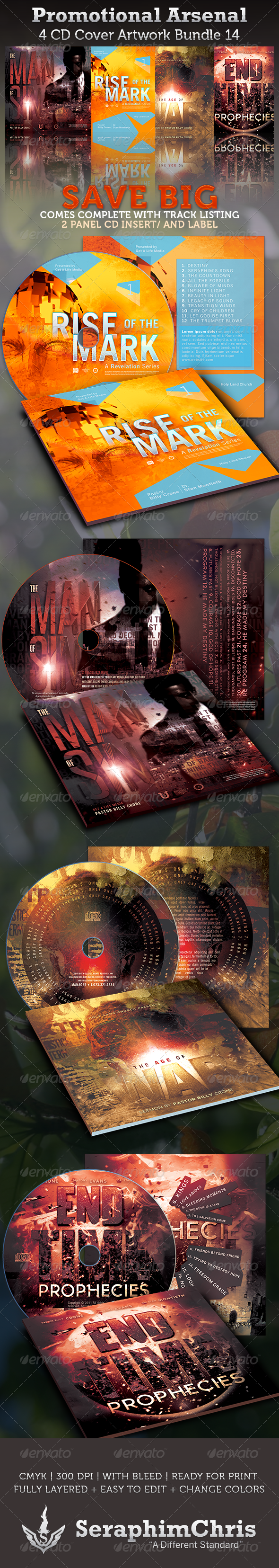 Promotional Arsenal CD Cover Artwork Bundle 14 - CD & DVD Artwork Print Templates