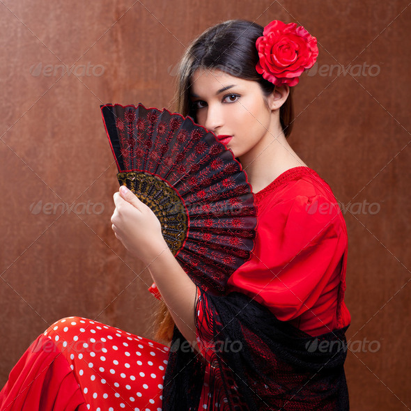 Flamenco dancer woman gipsy red rose  spanish fan - Stock Photo - Images