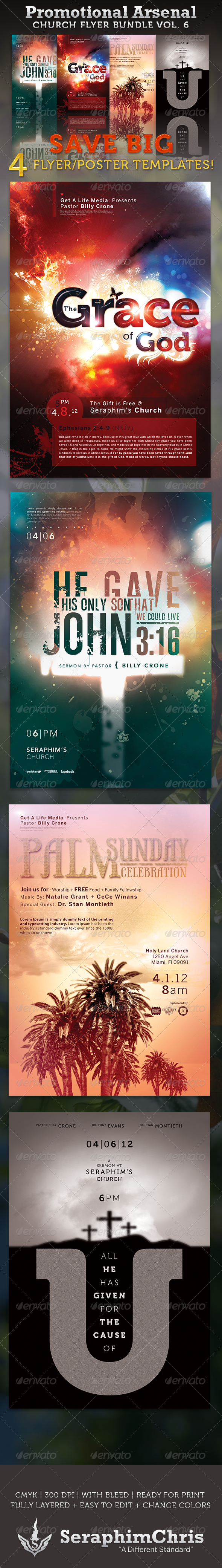 GraphicRiver Promotional Arsenal Church Flyer Bundle 6 3305117