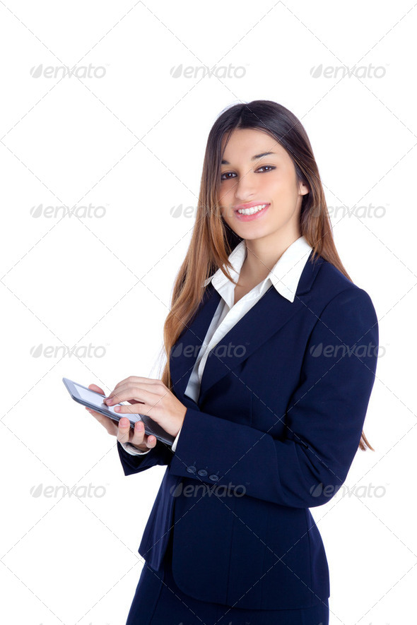 asian indian business woman reading ebook tablet pc - Stock Photo - Images