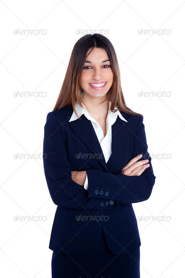 asian indian business woman smiling with blue suit - Stock Photo - Images