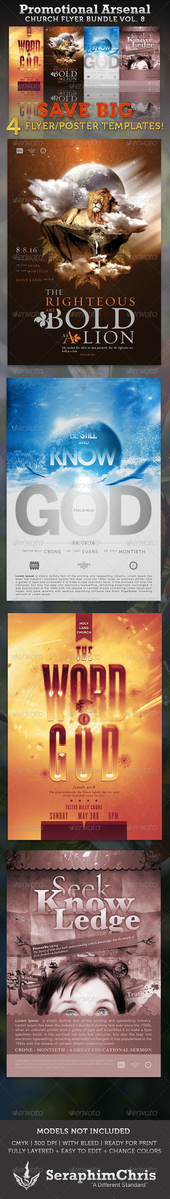 GraphicRiver Promotional Arsenal Church Flyer Bundle 8 3305131