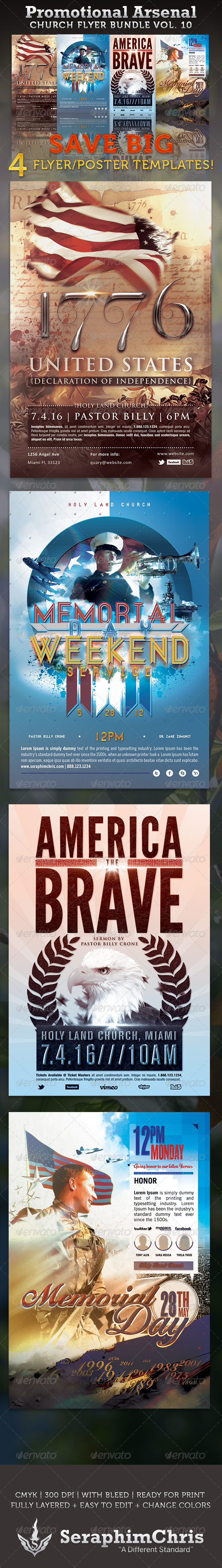 GraphicRiver Promotional Arsenal Church Flyer Bundle 10 3305155