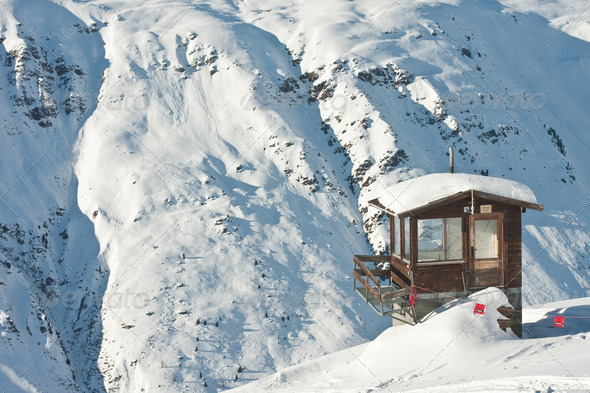 Cottage in the mountains. Obergurgl. Austria - Stock Photo - Images