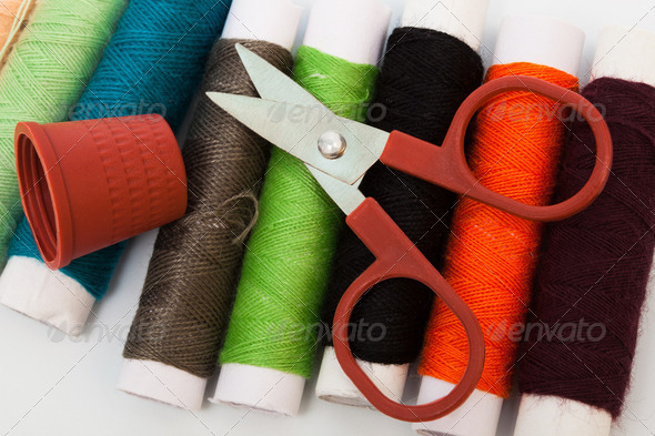 scissors, thimble, thread - Stock Photo - Images