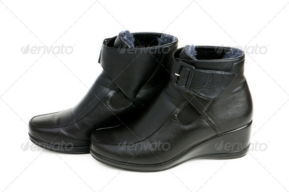 Black boots isolated on the white background - Stock Photo - Images