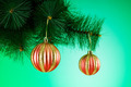 Christmas decoration against the colorful gradient background - PhotoDune Item for Sale