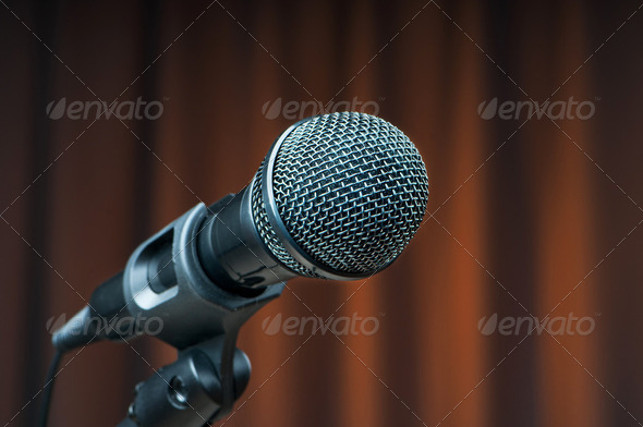 Audio microphone against the background - Stock Photo - Images