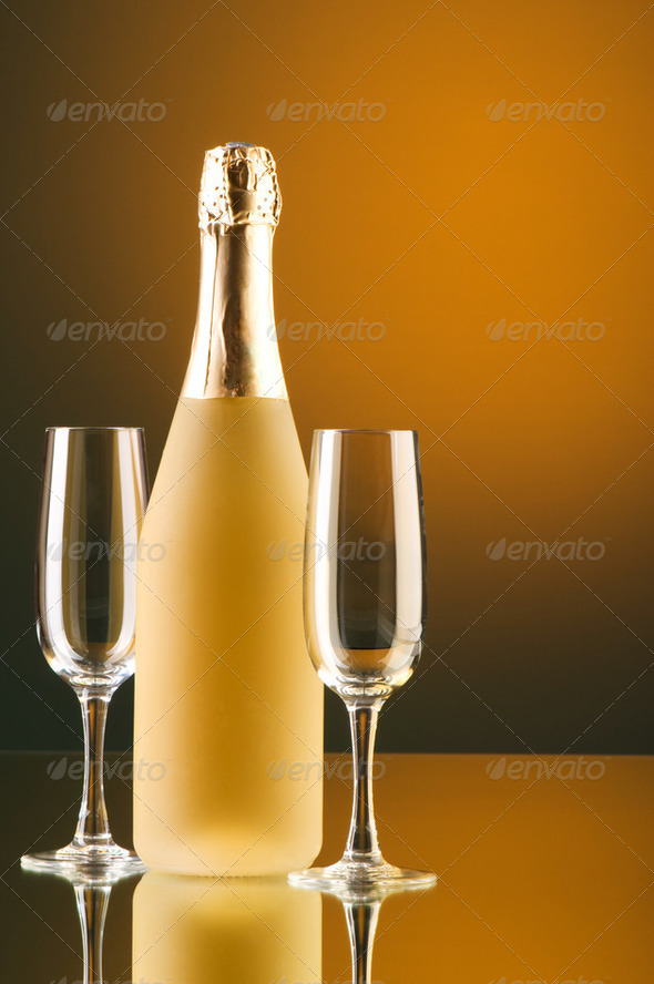 Champagne against color gradient background - Stock Photo - Images