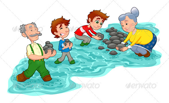 GraphicRiver Family is Making a Little Dam with Stones 3305569