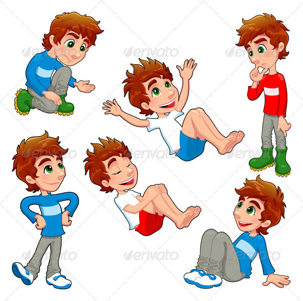 GraphicRiver Boy in Different Poses and Expressions 3305943