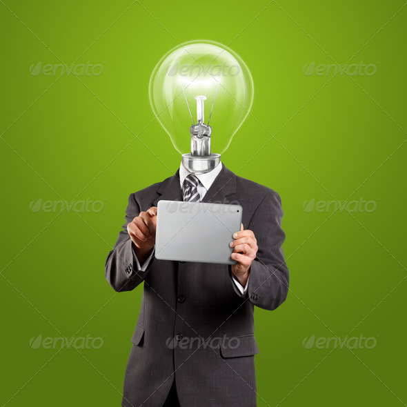 Lamp Head Businessman With Touch Pad - Stock Photo - Images
