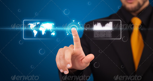 Businessman pressing high tech type of modern buttons - Stock Photo - Images