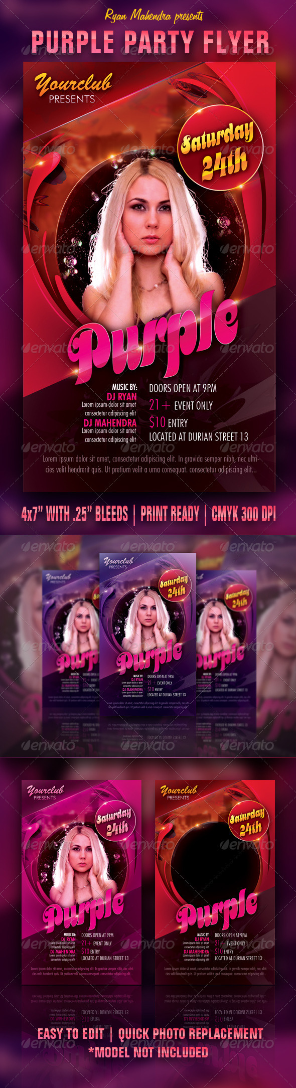 Purple Party Flyer - Clubs & Parties Events