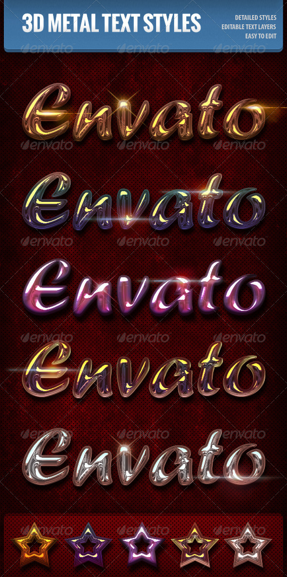 GraphicRiver 3D Metallic Text Styles 3290482